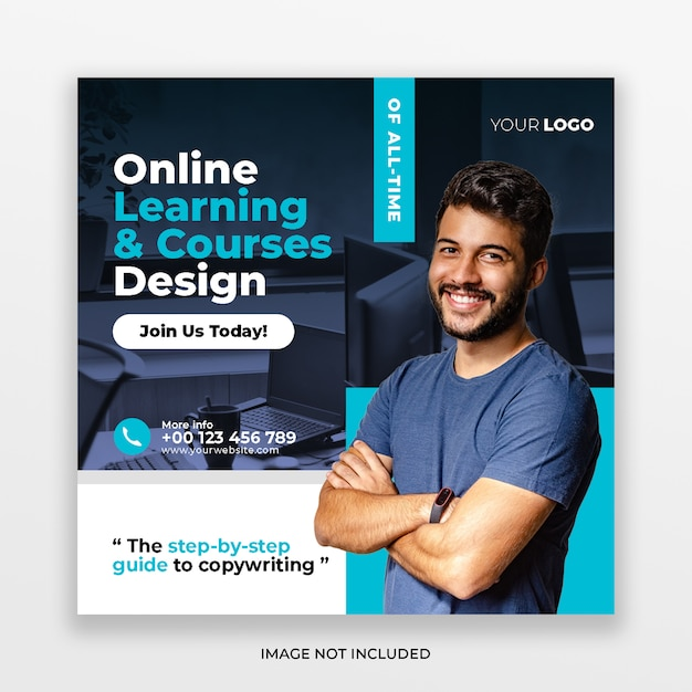 Online courses social media post & web banner Premium Psd