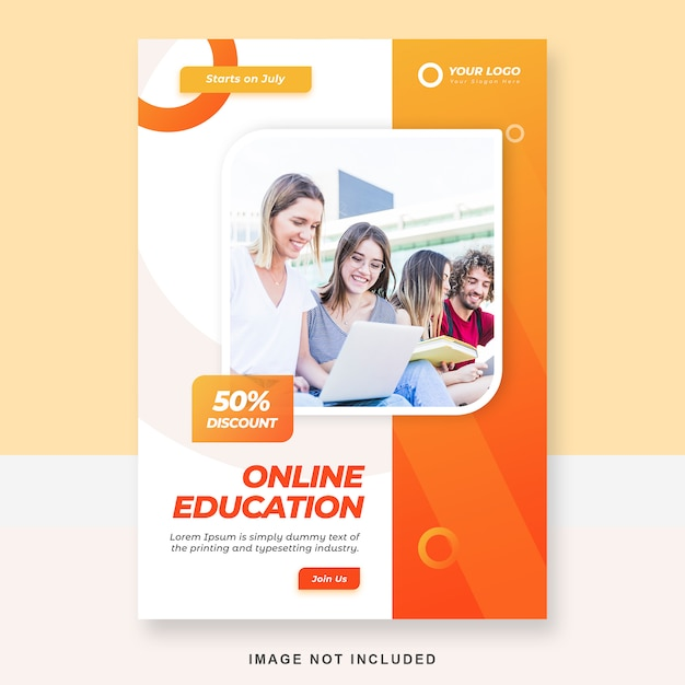 Online education brochure template Premium Psd