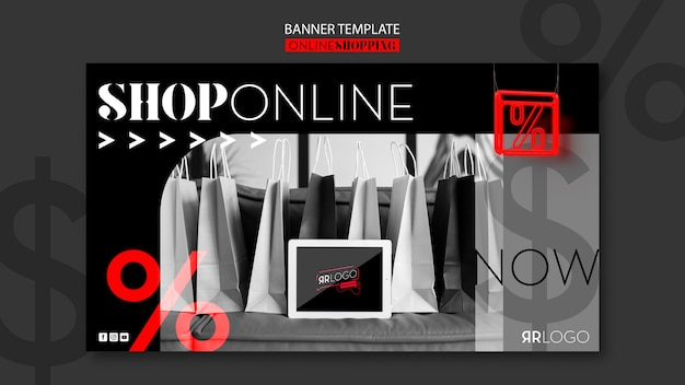 Online fashion shopping horizontal banner Free Psd