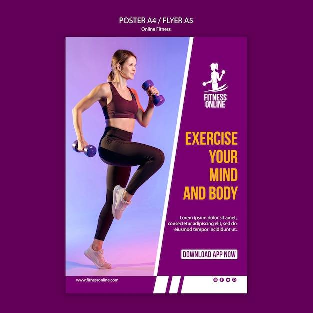 Online fitness concept poster template Free Psd