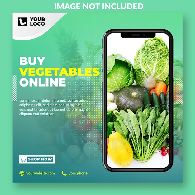 Online grocery promo social media post template Premium Psd