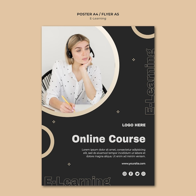 Online learning flyer template with photo Free Psd