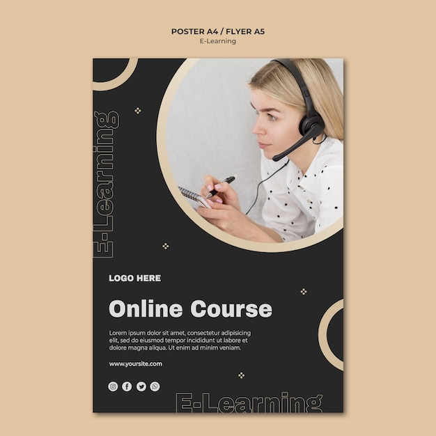 Online learning flyer template Free Psd
