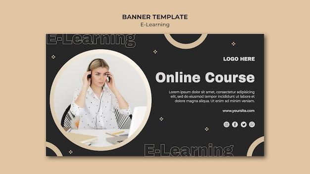 Шаблон горизонтального баннера онлайн-обучения Бесплатные Psd