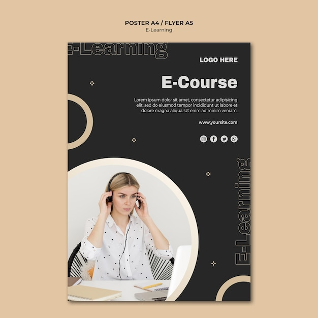 Online learning poster template Free Psd