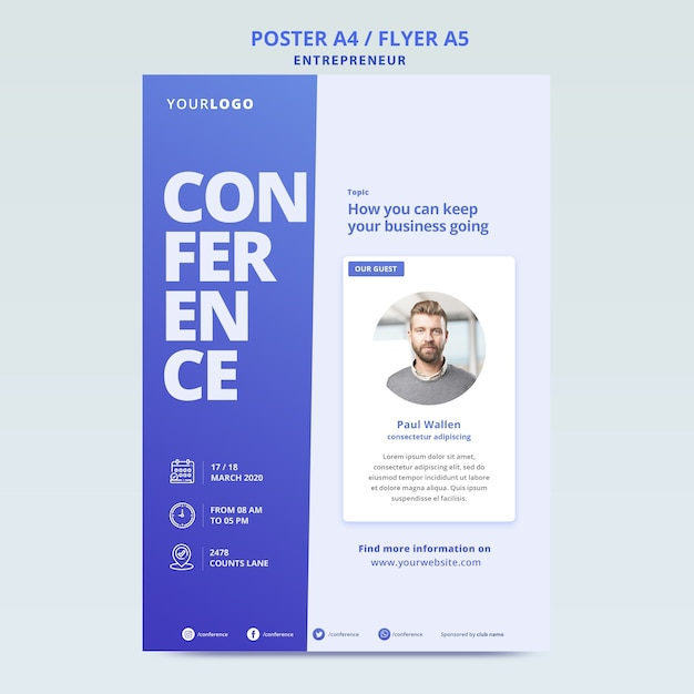 Online poster template for business conference Free Psd