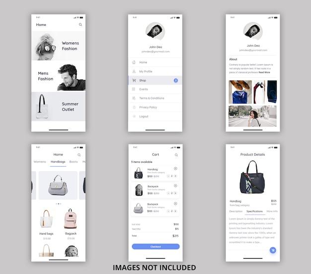 Online purchasing mobile ui kit Premium Psd