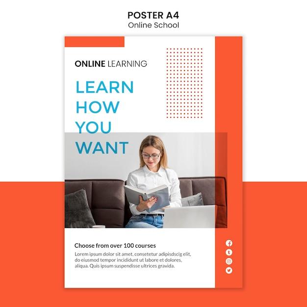 Online school poster design Free Psd