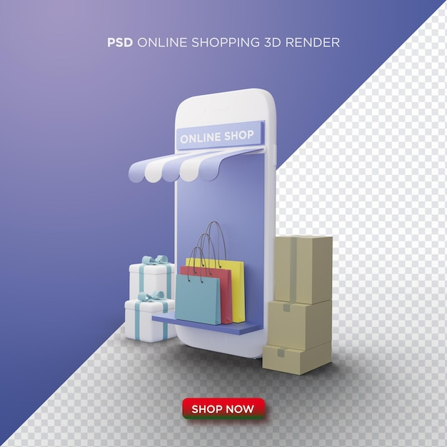 Online shopping 3d render with white smartphone and shopping bag