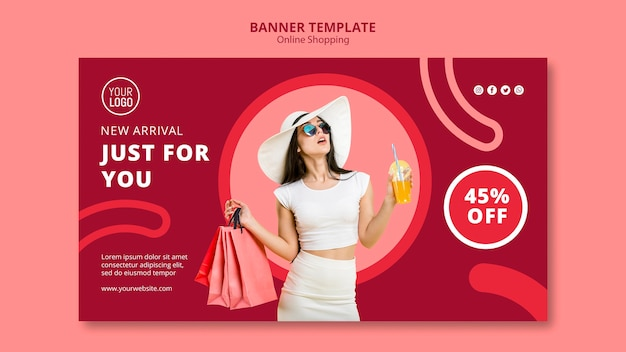 Online shopping banner template Free Psd
