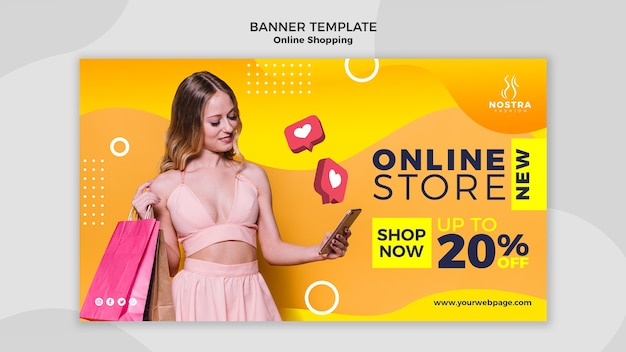 Online shopping concept banner template Free Psd