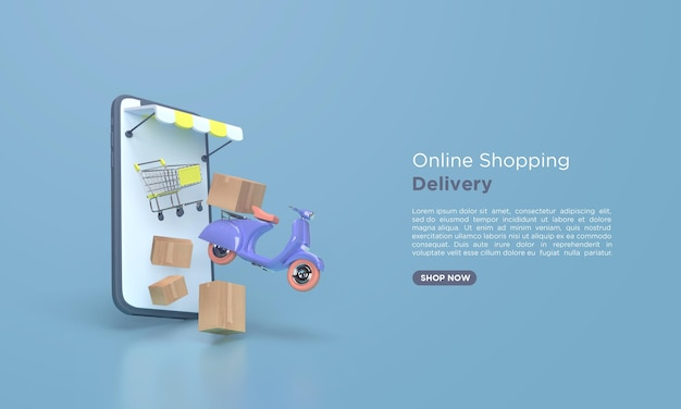 Online shopping delivery 3d rendering with scooter Premium Psd