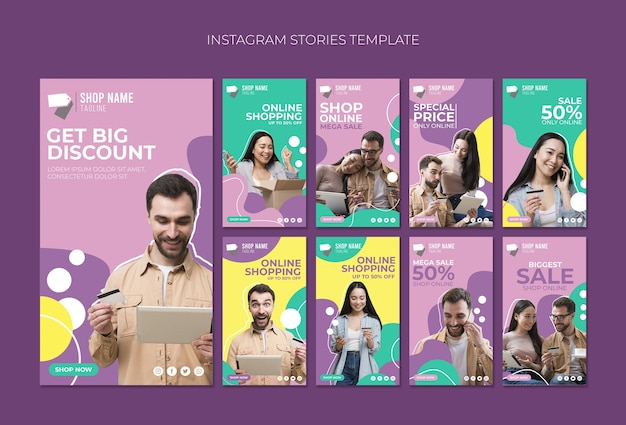 Online shopping instagram stories Free Psd