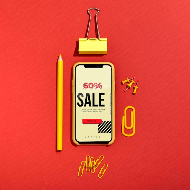 Online shopping on mobile on phone Free Psd