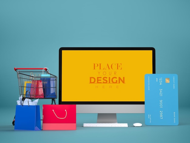 Online shopping with computer mockup template and shopping elements Free Psd