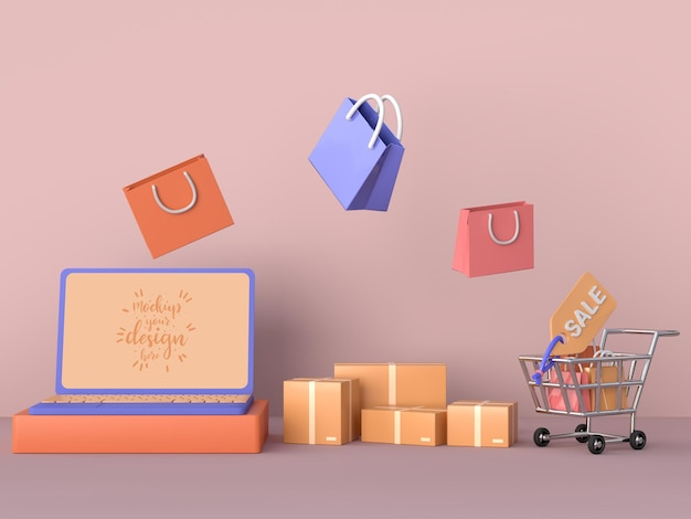 Online shopping with laptop mockup template and shopping elements Free Psd