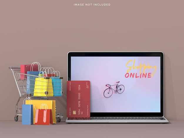노트북 모형으로 온라인 쇼핑 프리미엄 PSD 파일