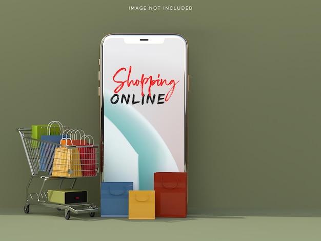 스마트 폰 모형으로 온라인 쇼핑 프리미엄 PSD 파일