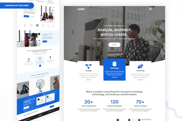 Online strategy and consulting services website page Premium Psd