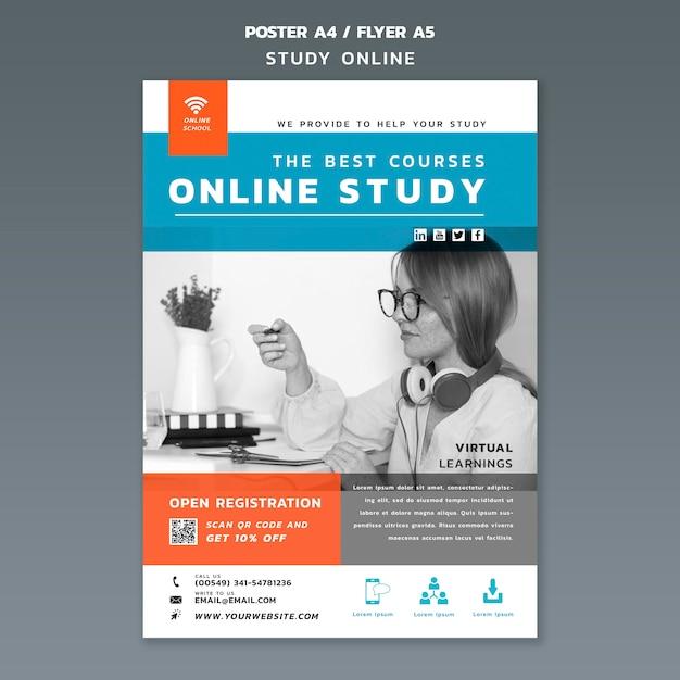온라인 연구 전단지 템플릿 무료 PSD 파일