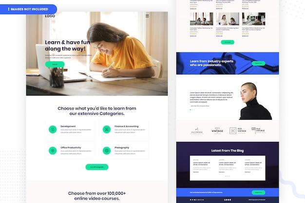 Дизайн страницы веб-сайта онлайн-обучения Premium Psd