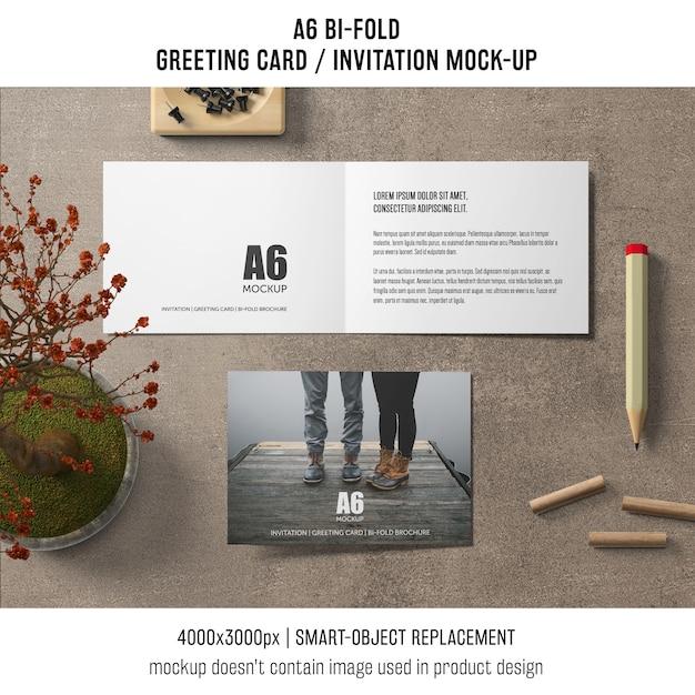 Open A6 Bi Fold Invitation Card Mockup Psd File Free Download