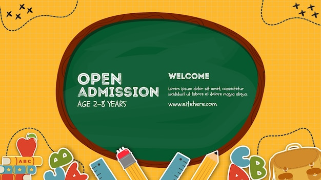 Open admission written on blackboard poster template Free Psd