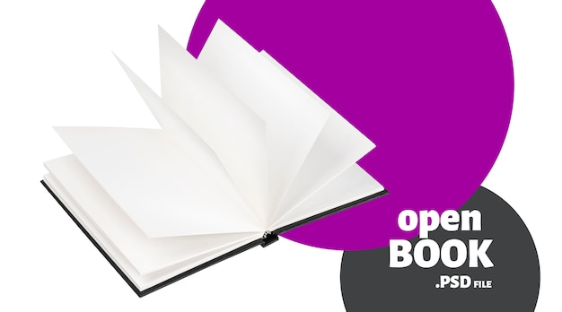 Open black book mock up banner Premium Psd