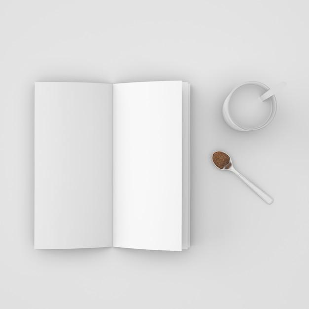 책과 커피 스푼 무료 PSD 파일