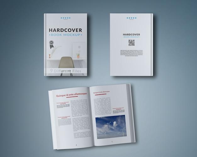 Open book and two covers mock up Free Psd