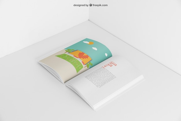 Open booklet mockup Free Psd