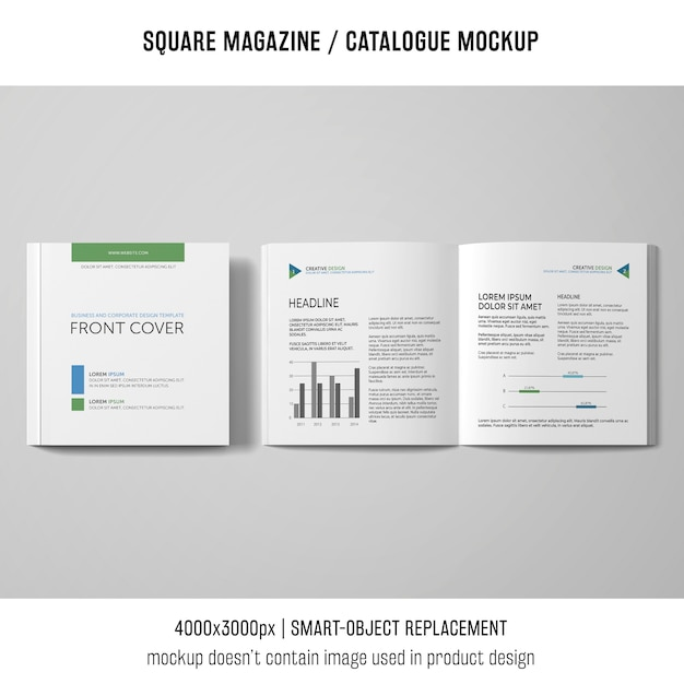 Open and closed square magazine or catalogue mockup Free Psd