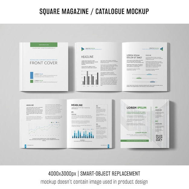 Open and closed square magazine or catalogue mockups Free Psd