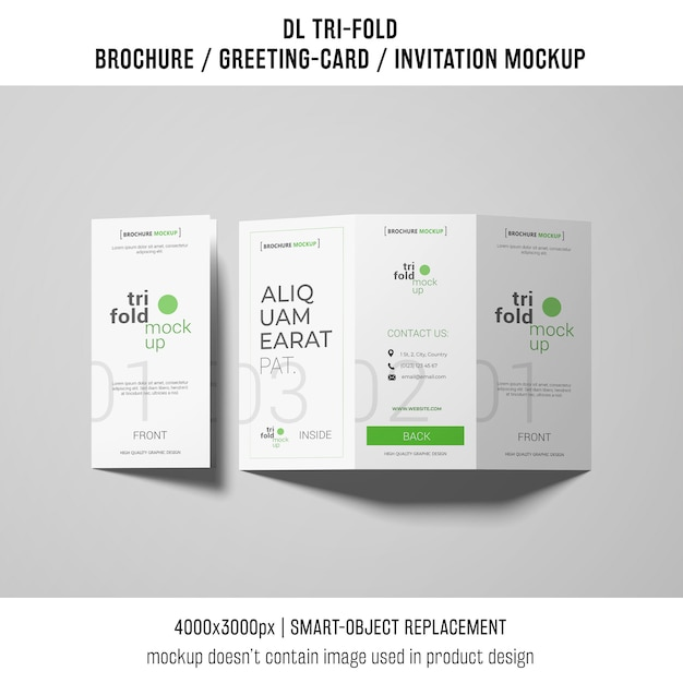 Open and closed trifold brochure or invitation mockup Free Psd