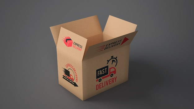 Open delivery box mockup Free Psd