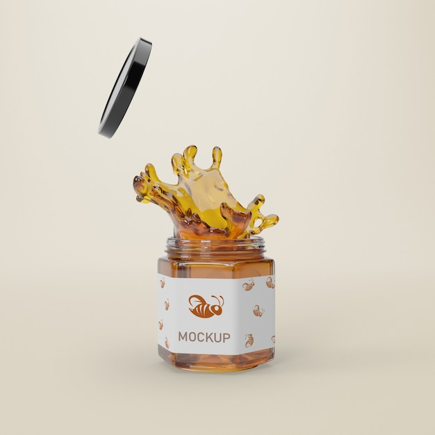 Open jar with honey Free Psd