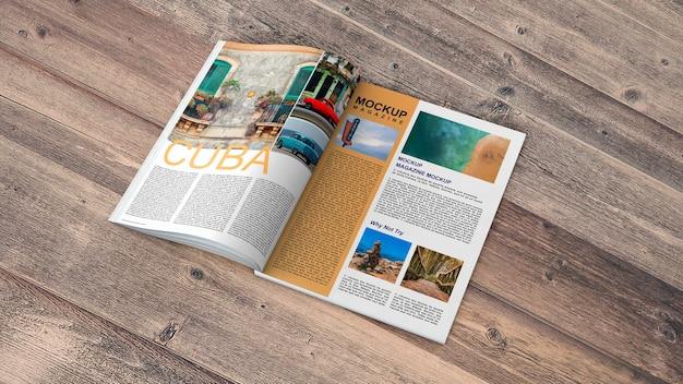 나무 테이블에 오픈 잡지 이랑 무료 PSD 파일