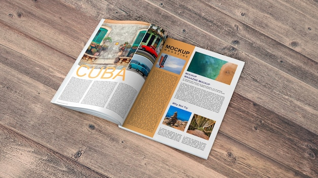 Open magazine mockup on wooden table Free Psd