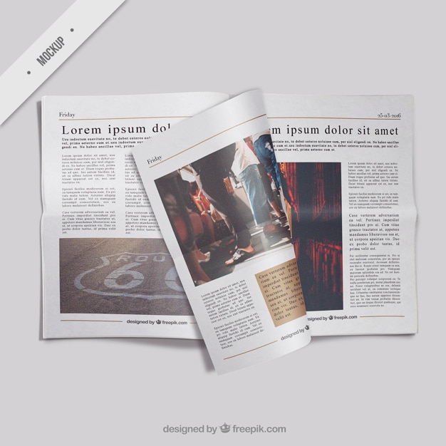 Open newspaper mockup with a folded page  Free Psd
