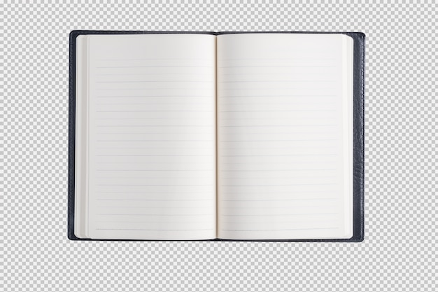 Open notebook isolated on white background Premium Psd