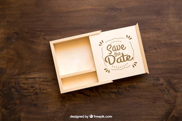 열린 나무 상자 이랑 무료 PSD 파일