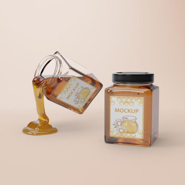 Opened jar with honey Free Psd