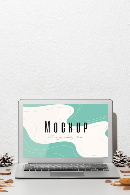 Opened laptop with screen mockup Free Psd