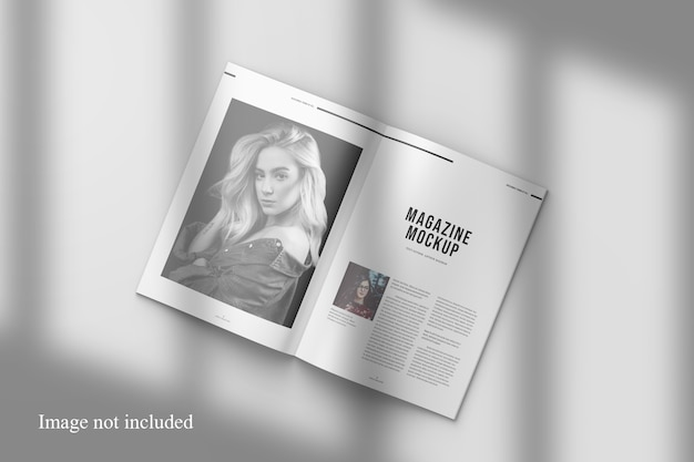 Opened magazine mockup with shadow overlay Premium Psd