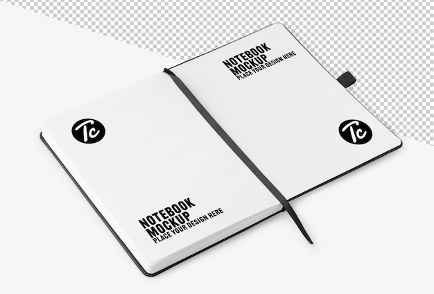 Opened notebook with blank page mockup Premium Psd