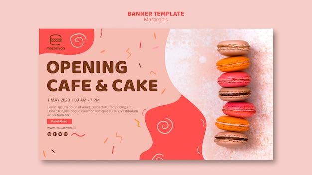 オープニングカフェとケーキのバナーテンプレート Premium Psd