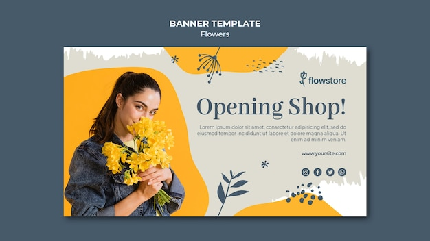 Opening flower shop business banner template Free Psd