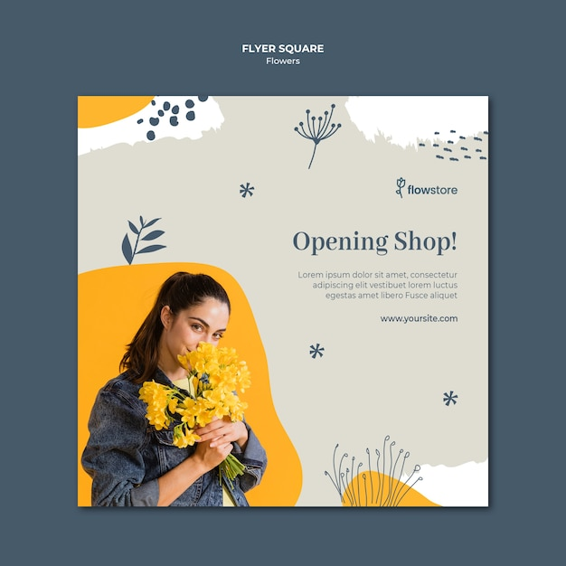Opening flower shop square flyer template Free Psd