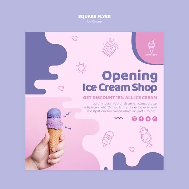 Открытие магазина мороженого квадратный флаер Бесплатные Psd