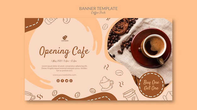 Opening shop coffee banner template Free Psd